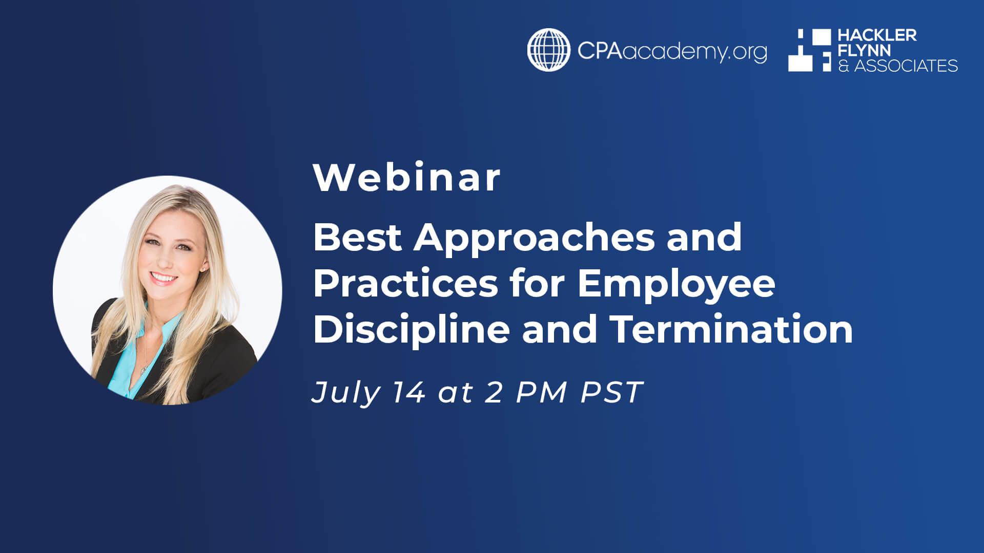 Webinar Graphic for Best Practices on Employee Discipline