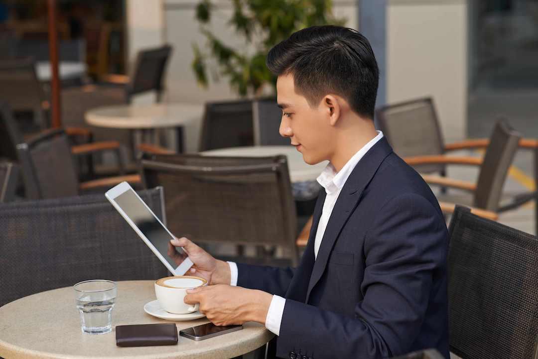 Business man taking coffee break