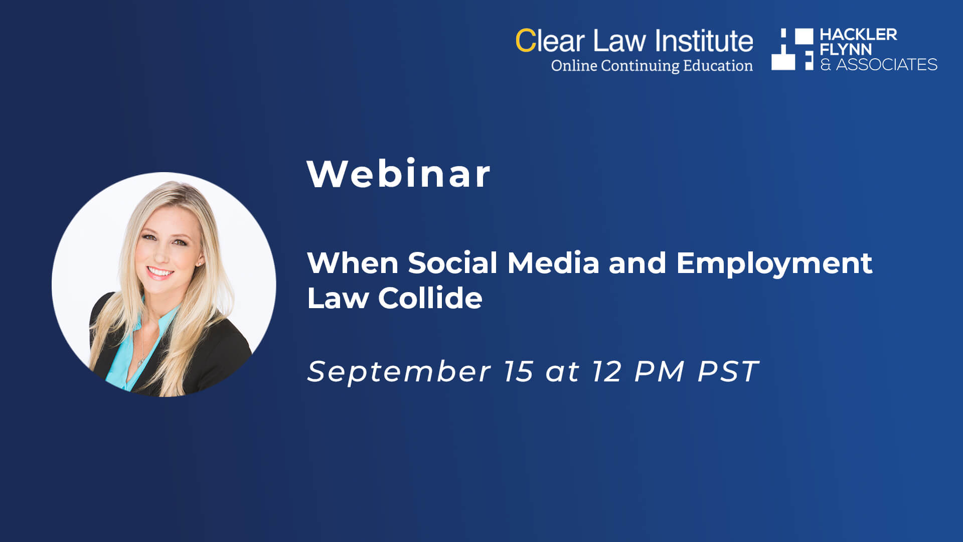 Clear Law Webinar Graphic - Social Media and Employment Law