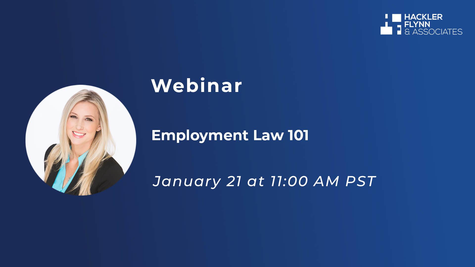 Employment Law 101 Webinar Graphic