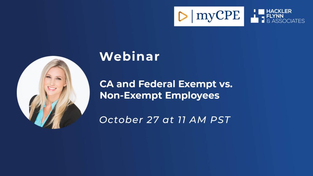 myCPE Webinar - Exempt and Non-Exempt Employees
